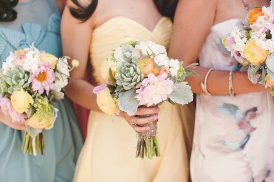 succulent+ pastel blush bouquets