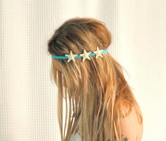 Triple White Starfish on Elastic Headband via Etsy.