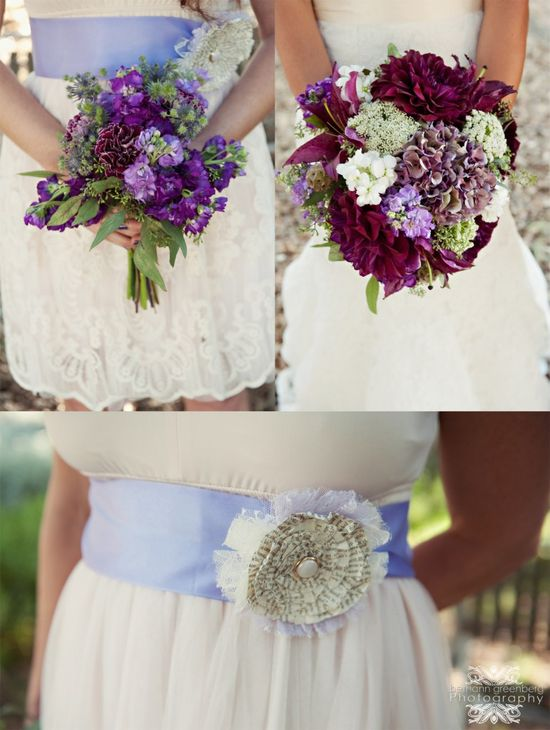 Purple flowers wedding handmade paper flower Bethann Greenberg Photography rustic wedding bridesmaid San Diego Wedding by www.bethanngreenb...