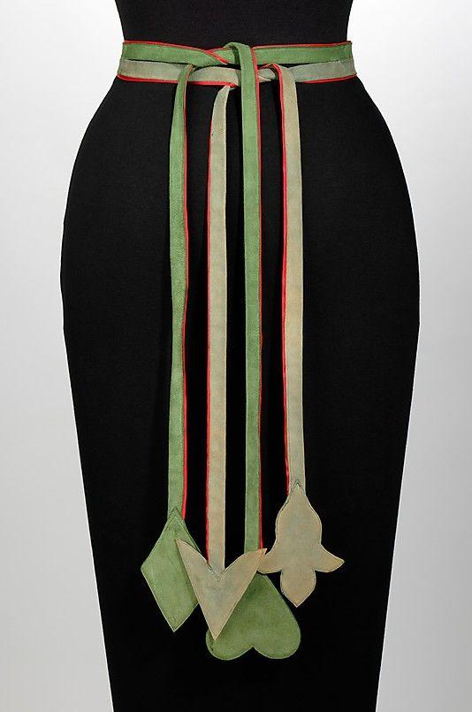 1948 leather and silk Belt by Elizabeth Hawes, American