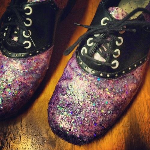 Mod Podged glitter saddle shoes