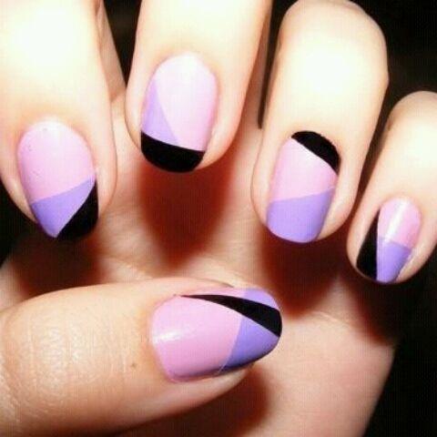 black + purple nail art.