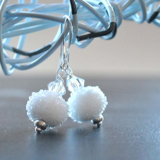Frosty White Snowball Earrings Sugared Lampwork Glass by bstrung, $28.00