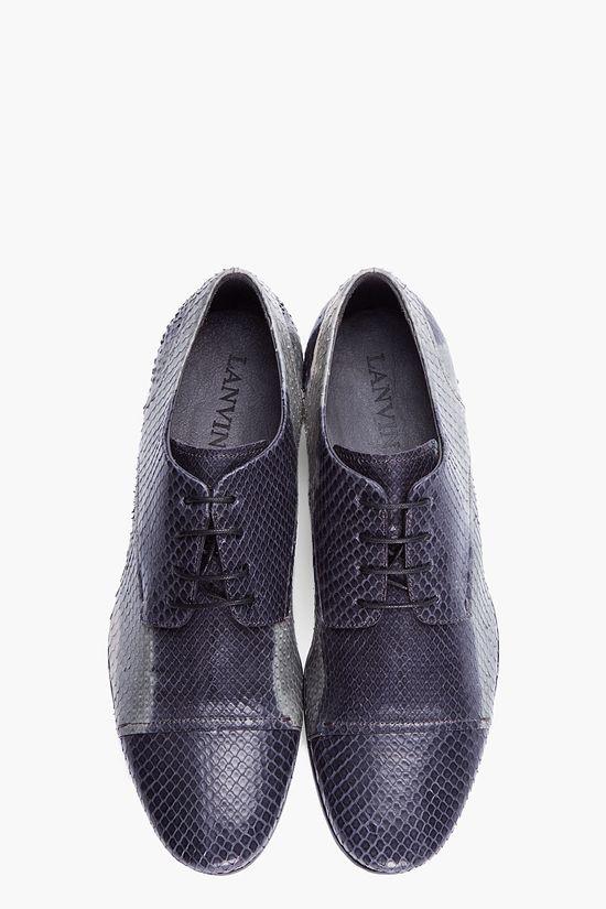 LANVIN grey batik Python oxford shoes