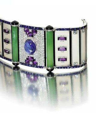 An Art Deco chalcedony, sapphire, amethyst and diamond bracelet, late 1920s
