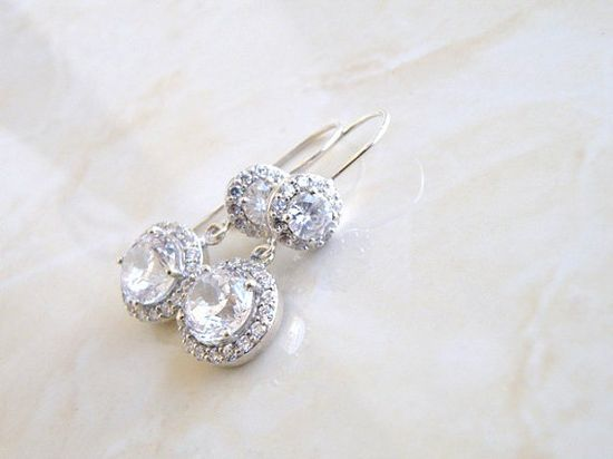 Wedding Jewelry Bridal Earrings Round Halo Cubic by SomsStudio, $42.00