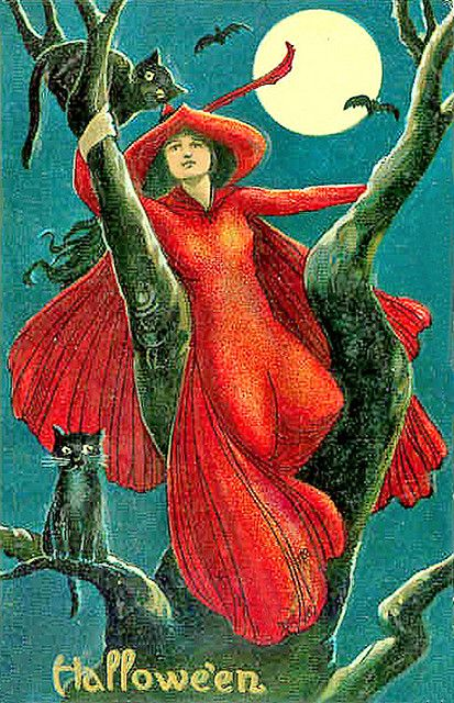 Tree Climbing Witch in Red--Vintage Halloween Postcard
