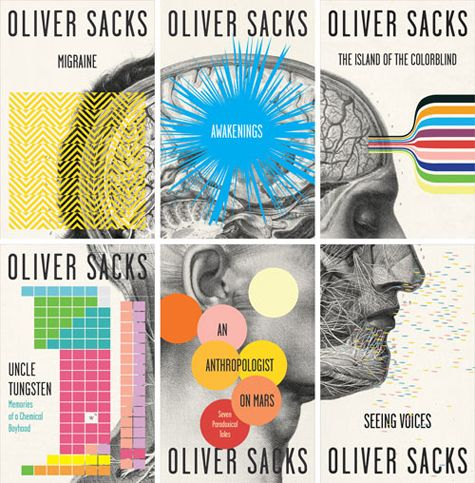 A collection of Oliver Sacks book covers that align to make one incredible graphic. Designed by Cardon Webb.