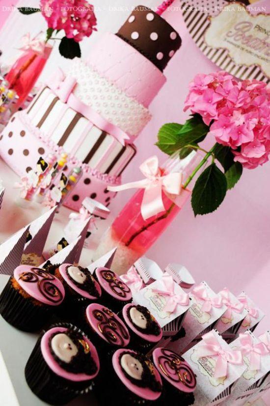 Pink & brown princess party via Kara's Party Ideas KarasPartyIdeas.com
