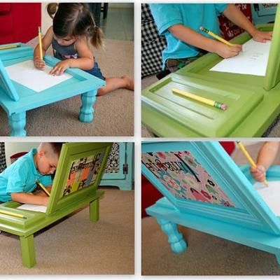 Genius!  Buy super cheap cabinet doors and make these cute desks!