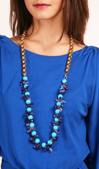 Amethyst, Gold & Turquoise Necklace.