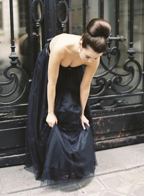 Black tulle dress in Paris