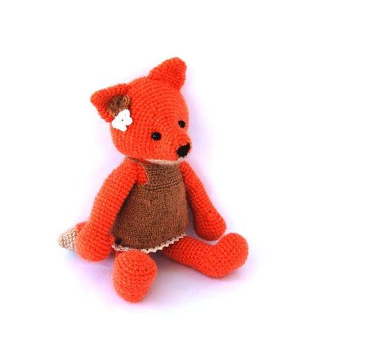 crocheted orange fox stuffed fox woodland plushie fox by crochAndi, $42.00