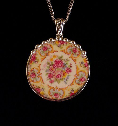 Broken china jewelry Parisian roses circle pendant necklace made from a broken plate vintage china