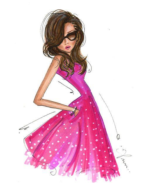 Fashion Illustration Print, Pink Dress by anum