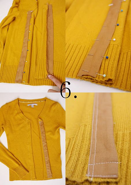 Too-small sweater into a cardigan