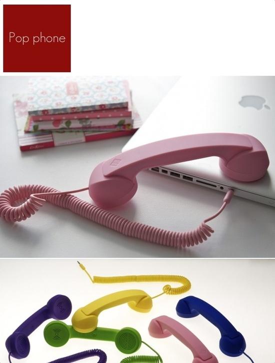 POP PHONE   Proyecto: Diseño de una línea de teléfonos para ser usado con un teléfono móvil o un teléfono VoIP. diseño de David Turpin.  www.nativeunion.com