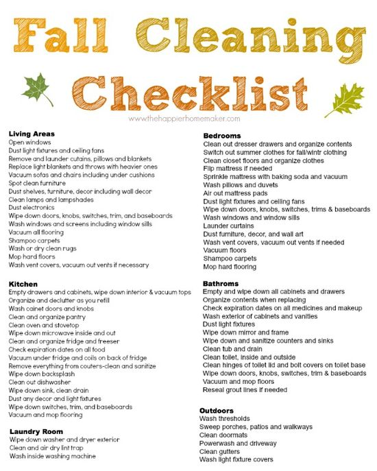 Easy to follow free printable Fall Cleaning Checklist-yes, time to do all of this!