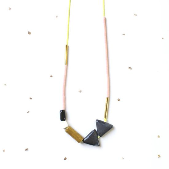 Geometric Colorblock Triangle Statement Necklace / long, chunky mixed-media beads / neon yellow, grey, saffron, pastel pink & gold