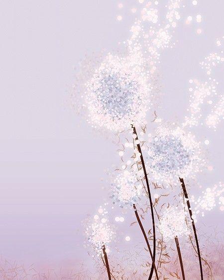 Purple Flower Dandelion Art - Perennial Moment (lavender) - , via Etsy.