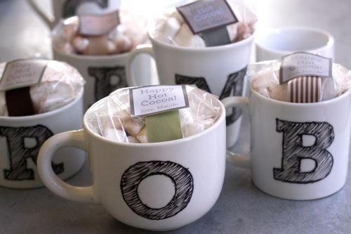 DIY Monogram mugs for him