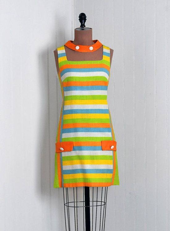 1960's Rainbow-Stripe Linen