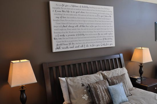 Canvas Word Art for above the bed or sofa. #wedding #decor #canvas #words #bedroom #decorate