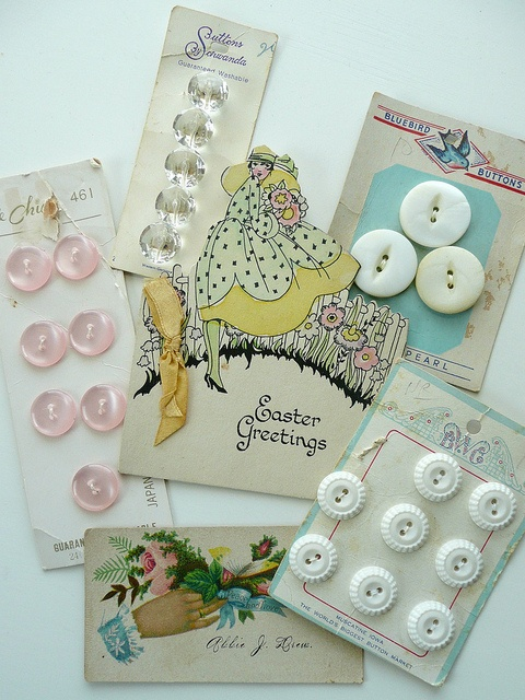 Vintage buttons and cards