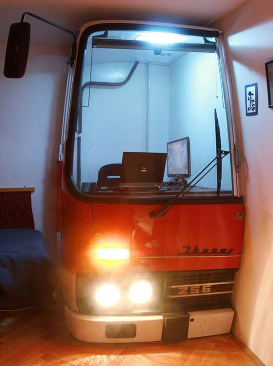 Old Hungarian Bus Turned into Modern Office