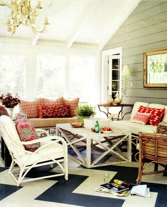 #gray #white #navy #red #painted #ceiling #chevron #floor #floors #glass #sunroom #screen #screened #porch #sofa #couch #chairs #table #furniture #outdoor #outdoors #chandelier