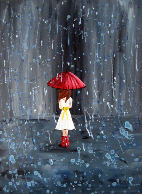 Rain Girl Print Walk through the Rain by rachelledyer on Etsy