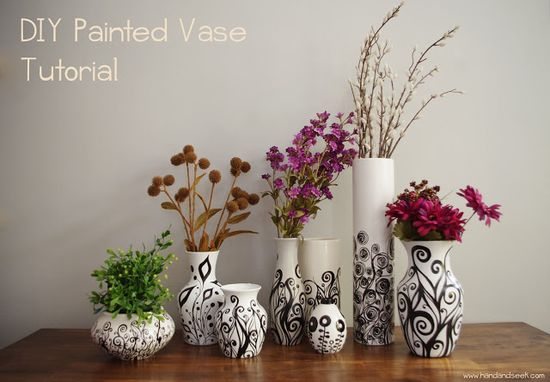 Hand and Seek: DIY Tutorial and Inexpensive, Easy Handmade Gift Idea: Painted Vases from @Sarah Hennessey