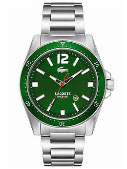 A classic Lacoste timepiece gets an edgy update with an emerald green face. #coloroftheyear