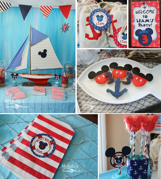 Nautical Mickey Mouse themed birthday party via Kara's Party Ideas karaspartyideas.com #nautical #mickey #mouse #themed #birthday #party #cake #ideas