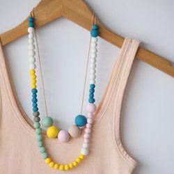 DIY Polymer Clay Bead Necklace.