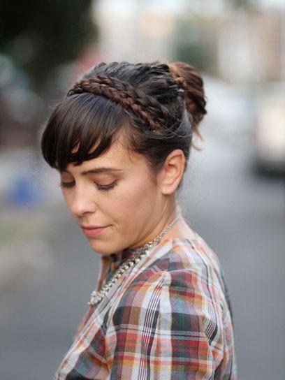 Fashion Click blogger Veronika Placek of Tick Tock Vintage wears a crown braid