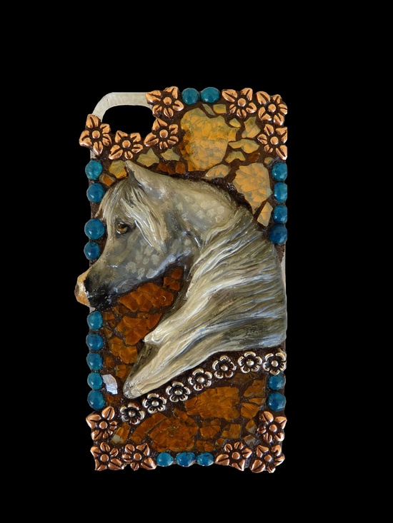 Arabian Horse Mosaic Cell Phone Case by KateSutcliffeMosaics