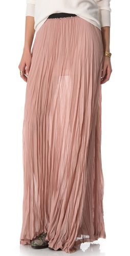 Pink chiffon pleated maxi skirt