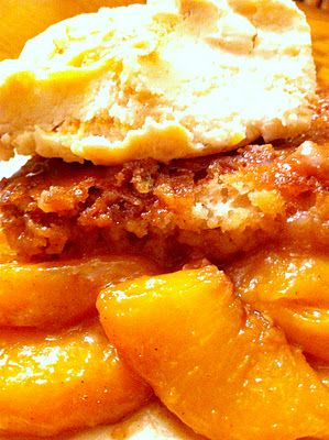 Fresh Peach Cobbler the old Southern way (Peaches over batter before baking)