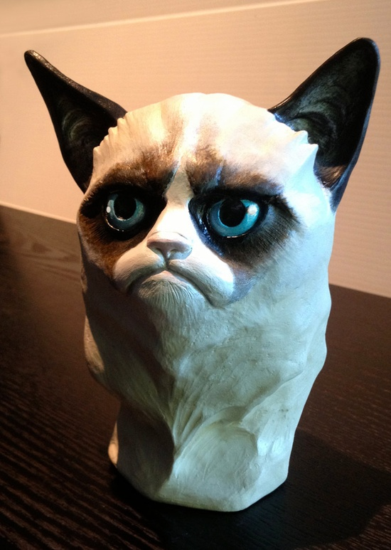 oh just a hand painted grumpy cat portrait bust and it hates you.