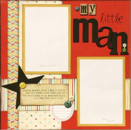 Premade Scrapbook Page 12 x 12 Boy Layout  My by designstudioL, $10.00