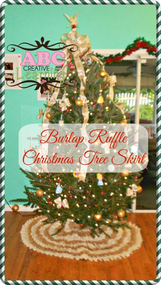 No Sew Burlap Ruffle Christmas Tree Skirt Tutorial