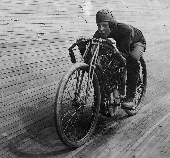 Motordrome racer on an Excelsior motorcycle, circa 1914  Motorcycle companies - (Indian and BSA, to name a couple) found that the public loved the thrill of peering down just a few feet away from the gunning biker beneath them, and thus it quickly became a highly promoted spectacle as manufacturers used it as a vehicle to advertise their brands, and daredevil riders upped the ante at breakneck speed to make a name for themselves and  solidify their reputations on the infamous Wall of Death.