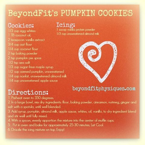 Healthy Dessert Idea: Protein packed pumpkin cookies! #beyondfitlife #fitmoms www.facebook.com/...