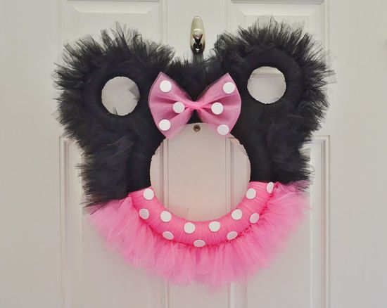 Minnie Mouse Tulle Wreath by LoveNestBoutique on Etsy, $45.00