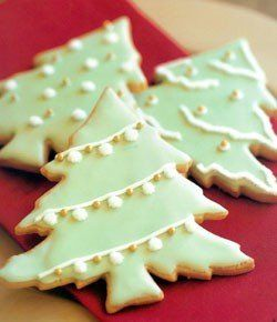 Classic, delightful Iced Christmas Tree Cookies. #Christmas #tree #cookies #decorated #food #baking #dessert #party