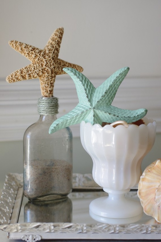 a cast iron sea star and a dried one