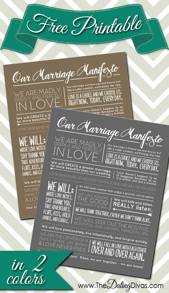 FREE printable Marriage Manifesto.  Just pin four fun posts then you have instant access. This would make the perfect anniversary or wedding gift!! www.TheDatingDiva... #wallart #freeprintable #freebie
