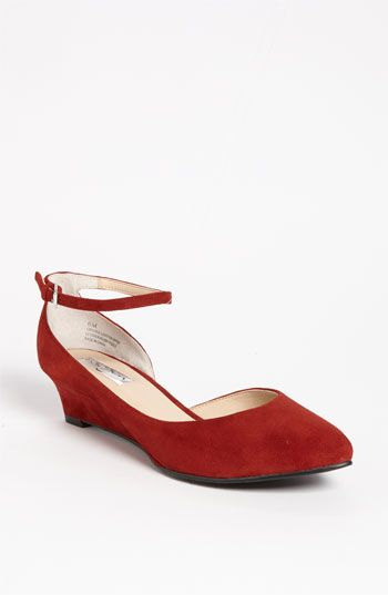 Red suede wedge.