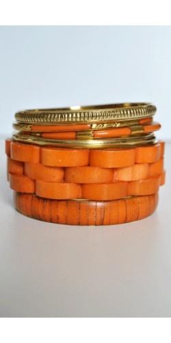 JEWELRY Stacked Orange Bangles